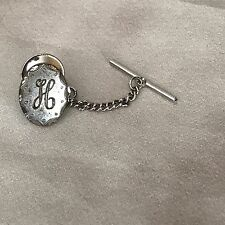 Sterling Silver Monogram H Oval Tie Tack Lapel pin Letter H Pin Vintage H Pin