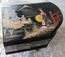 BOITE A BIJOUX MUSICALE BOIS LAQUE DANSEUSE JAPONISANT JEWEL MUSIC  BOX