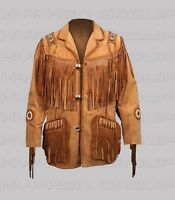 New Men's Mustard Handmade Brown Western Suede Leather Jacket Fringes Beads
