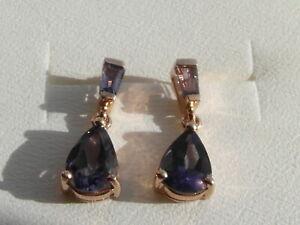 16N Beautiful Ladies 9ct gold Tanzanite earrings