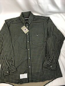 Bulwark FR Flame Resistant Shirt Long Sleeve L Plaid Green Blue Tan