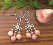 Natural RHODOCHROSITE Gemstone On Chinese Lucky Knot Dangle Earrings ~ Feng Shui