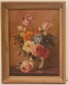 "Original Oil Painting on Board Still Life Flowers Signed Framed Art  (18"" x 14"")"