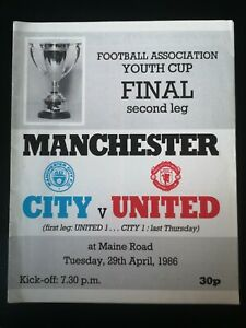1986 FA YOUTH CUP FINAL MANCHESTER CITY V MANCHESTER UNITED