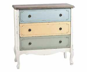 Rustic Wood Dresser Chest 3 Drawer Shabby style made in Italy
