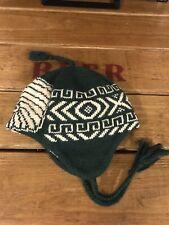 Vintage Ralph Lauren Rugby Knit Wool Beanie Green Indian Head Tribal Aztec Hat