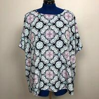 Croft & Barrow Women's Size 1X Print Top Short Sleeve Polyeste