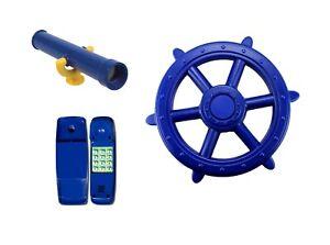 Blue Playground Accessory Kit Cubbyhouse Ships Wheel Telescope Telephone pack