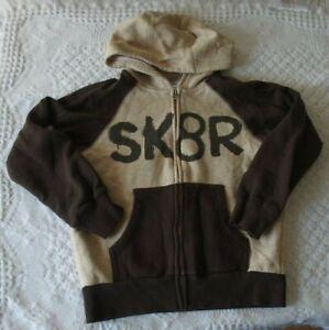 Gymboree 5 6 S Boys Sweatshirt Sk8R Hooded EUC brown tan fall winter skater