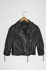 *STUNNING!* AllSaints Ladies Cropped WORLEY Leather Biker Jacket UK8 US4 Black