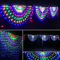 444LED 3M RGB Peacock Net Mesh Fairy String Lights XMAS Outdoor Curtain Lights