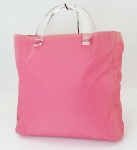 Authentic PRADA Pink Nylon Tote Hand Bag Purse #39751A