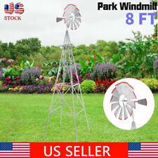 Garden Metal Windmill Ornamental 8ft Tall Wind Vane Garden Lawn Decor Durable Us