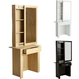 Modern Dressing Table Jewelry Makeup Desk w/Sliding Mirror Bedroom Storage Shelf