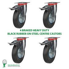 More details for 4 x heavy duty 150mm / 450kg  black rubber on swivel braked castors