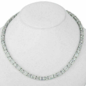 34Ct Lab Created Emerald & Round Cut Diamond Tennis Necklace 14K White Gold Fn