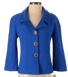 St John Couture Blazer Blue Pockets Button Up Jacket Size 4 Collared Textured