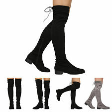 NEW WOMENS LADIES THIGH HIGH LOW HEEL OVER THE KNEE STRETCH BOOTS SIZE 3-8