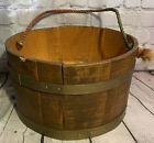 Vintage Antique Wooden Staved Brass Banded Bucket with Rope Handle Farmhouse