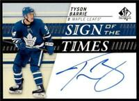 2019-20 UD SP Authentic Sign of the Times Auto #SOTT-BA Tyson Barrie