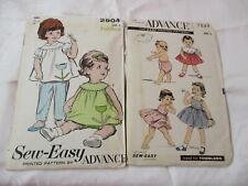 Vintage 1940's & 60's 2 Advance Patterns Toddler Sun Dresses Size 3 #2904 & 7849