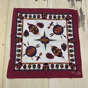 SOUTHWEST BANDANA: NEW Vtg Red & White Geometric Masks Handkerchief, Made in USA