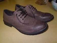 """EXCELLENT """"STEVE MADDEN"""" MACREEN CASUAL GRAY BROWN LEATHER WING TIP SHOES - 13 M"""