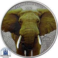 Gabun 1000 Francs 2012 Elefant Silver Ounce Antique Finish in Farbe
