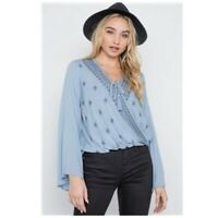 Embroidered Top Shirt Lt Blue Surplice V Neck Bell Sleeve Tie Front Womens M NWT