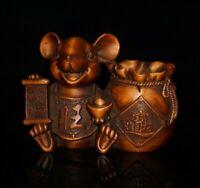 fengshui Decor natural boxwood carve rat mouse money bag wealth statue figurines