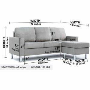 Sofa Configurable Reversible Chaise Small Space Grey Couch Sectional Sofa