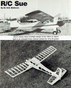"""Model Airplane Plans (RC): R/C Sue 61"""" 530si for .19- .25 Engine (Veco Sioux)"""