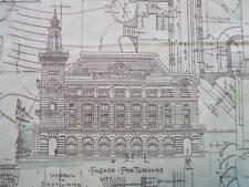 Passport Etchings Architectural Drawing Aqua 3 Sisters Moda Cotton Fabric Yard