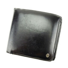 Cartier Wallet Purse Bifold Black Silver Mens Authentic Used T3907
