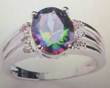 MYSTIC RAINBOW TOPAZ RING WITH WHITE TOPAZ ACCENTS SIZE 6/8/10