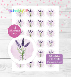 Lavender Stickers, 48 Round Labels For Envelope Seals/Party Bags/Favours/Gifts