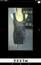 Jean Paul Pailletten Kleid Mini Stretch Jersey Schwarz 36