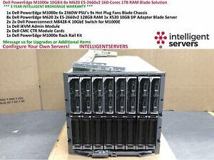 Dell PowerEdge M1000e 10GBit 8x M620 E5-2660v2 160-Cores 1TB RAM Blade Solution