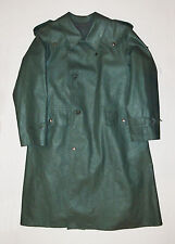Vtg Post WWII 1950s Faux Leather SWISS ARMY OVERCOAT Lined Trench Coat Jacket