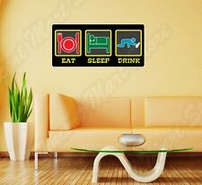 "Eat Sleep Drink Alcohol Vodka Bar Funny Wall Sticker Room Interior Decor 12""X25"""