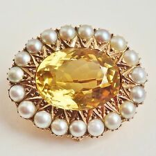 Stunning Victorian 9ct Gold Scottish Cairngorm Citrine & Seed Pearl Brooch c1900