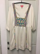 Monsoon Embroidered Kimono style short sleeve Tunic in Cream, size 20