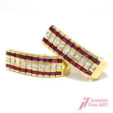 Ohrclips mit traumhaftem Rubin- u. Diamantbesatz in 18K/750 Gelbgold - 26,6 g