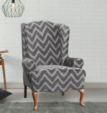 NEW Sure Fit Stretch Plush Gray chevron WING Chair Slipcover