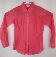 Ariat Shirt Long Sleeve Button Front Pearl Snaps Sheer Pink Shimmer Size Small S