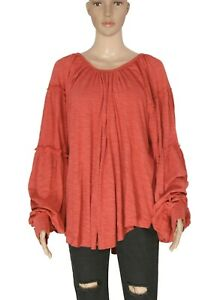 Free People Ruffle Long Sleeve Coral Pullover Oversized Summer Tunic Top New L