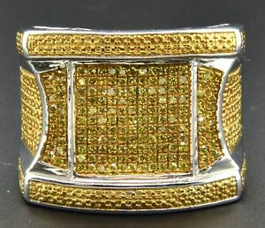 Yellow Diamond Mens Pinky Ring Pave .925 Sterling Silver 0.53 Ct.