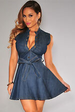 Abito Gonna Top aderente jeans Bottoni Scollo Fiocco Midi Denim Skater Dress XL
