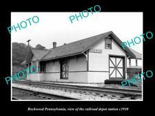 OLD LARGE HISTORIC PHOTO OF ROCKWOOD PENNSYLVANIA, THE RAILROAD DEPOT c1920