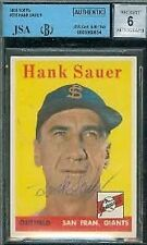 HANK SAUER SIGNED 1958 TOPPS JSA BGS AUTOGRAPH AUTHENTIC